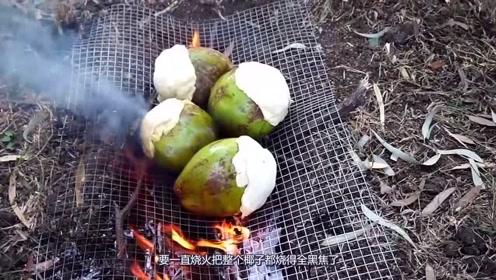 越南男子野外把鸡肉塞椰子里做椰子鸡,网友:口水已经流一地