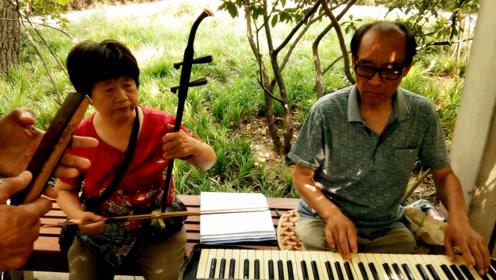 农村大爷弹电子琴,大婶拉二胡又唱歌,完美组合好看好听