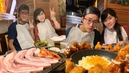 福原爱江宏杰撇孩子享受美食 烤肉炸鸡大快朵颐