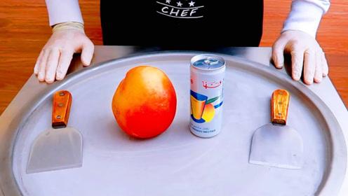 为了把芒果卖得更贵,老板把它炒成冰淇淋,洒上奶油一起吃巨诱人