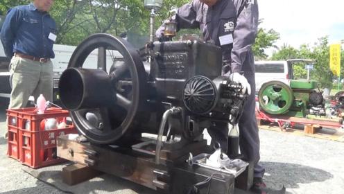 大叔珍藏100年前的发动机,启动那一刻,排气管霸气了!