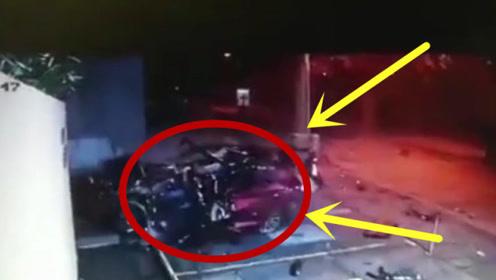 轿车失控撞墙,当场解体成一推零件,司机却奇迹生还!