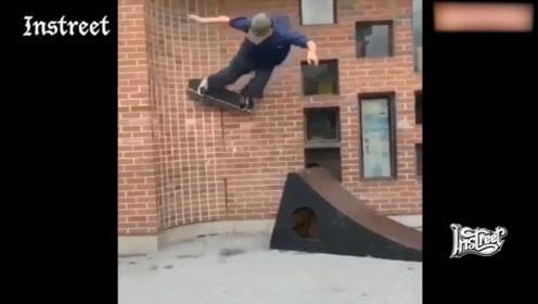 借助抛台的力量直接上墙,滑板还能这么玩?
