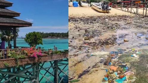 触目惊心!2年前还是白沙滩,如今网红仙本那马布岛垃圾遍地