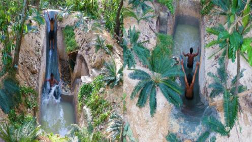 荒野求生:牛人户外自制泳池,还带有滑梯,玩嗨了