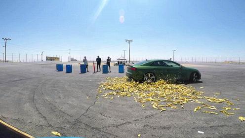 铺满香蕉皮的弯道,R8高速过弯的瞬间,才知道奥迪四驱有多牛