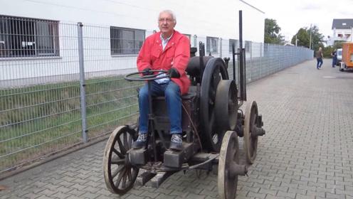 老头收藏100年前的拖拉机,如今还能驾驶,质量太好了!