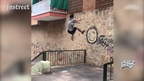 跑酷大神一个飞跃,之间上墙,这惊人的弹跳力