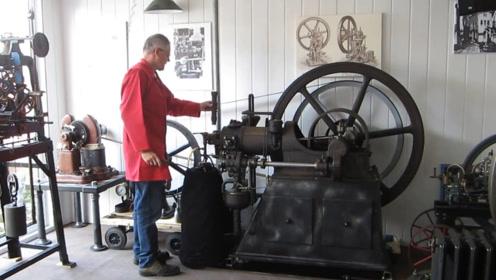老头收藏1934年发动机,看看是如何启动的,太有趣了!