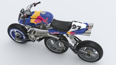 跟轮滑鞋一样的摩托车!三个轱辘并排,KTM发动机999cc!