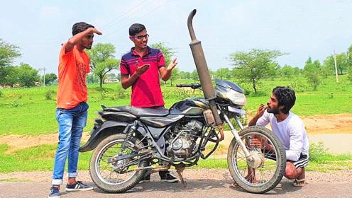 小伙把四轮车排气管装上摩托车,一把油门下去才知道啥叫霸气