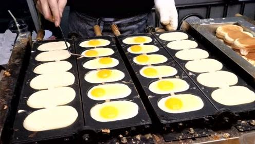 韩国夜市的鸡蛋面包,纯牛奶和鸡蛋制作,看完真让人大开眼界