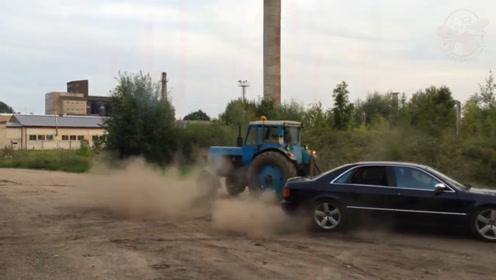奥迪和拖拉机拔河被虐惨,不爽后直接疯狂漂移,却漂成一堆废铁