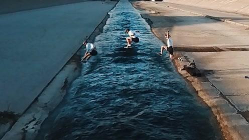 跑酷达人的日常训练,一步跨越5米宽河流,普通人学不来