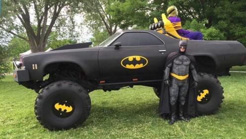 老外打造蝙蝠战车,免费带生病小朋友体验,这是真蝙蝠侠吧!