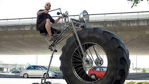 美国小伙改装自行车,装上拖拉机的车轮,骑上路吸引众人目光!
