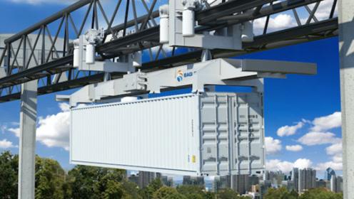 """全球首个电动集装箱运输轨道,带着集装箱在天上""""飞"""""""