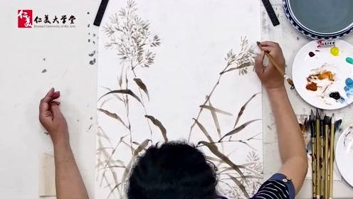 南开大学张永敬教授写意翠鸟芦花画法 笔法高超太过瘾了收藏学习
