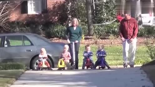 国外老奶奶骑平衡车和孙子比赛,最后惨被摔!悲剧了!