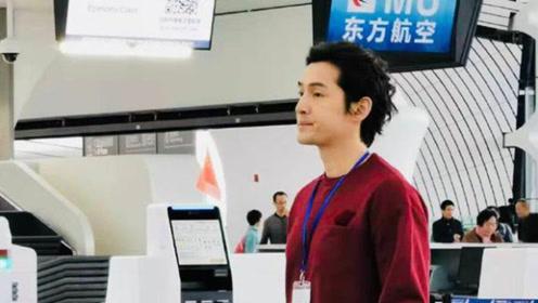 胡歌现身大兴机场被网友偶遇 拍宣传片生图超帅气