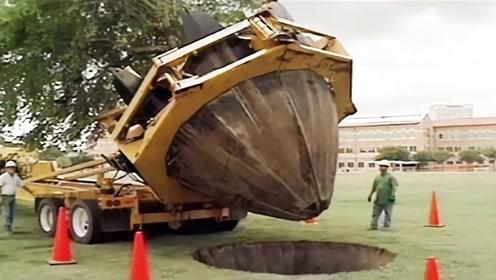"""德国发明的""""移树机"""",全程不到3分钟,就将一棵大树给挖走!"""