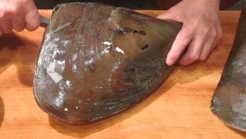 实拍顶级大厨制作贝壳刺身,一刀切下去,口水都快流出来了!