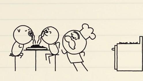 铅笔人坐小猪飞起来,小猪的排泄物被做成午餐,结局太搞笑!