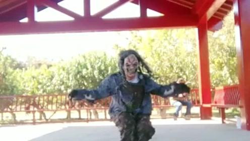 公园偶遇霹雳舞高手,穿着怪异,真是开眼界了