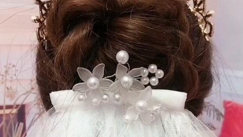 超级简单的皇冠白纱发型,准备结婚的妹子看过来