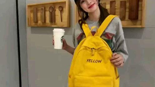 很简约清新的韩版学院风范双肩包~对应颜色绣有对应字母