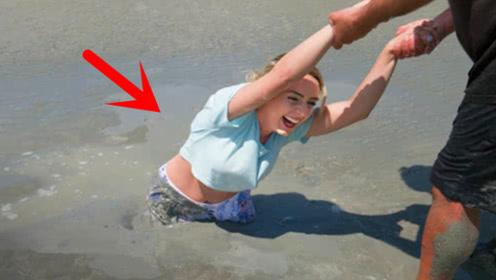 掉进流沙中该如何自救?女子亲测这个方法,遇到危险或许能救命!