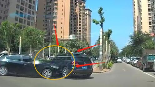 大众车左拐撞上小轿车,还好速度不快!要不是监控拍下谁信?