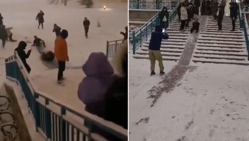 """南方人体会不到的快乐!吉林农大学生""""雪滑梯""""上玩出新花样"""