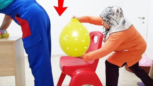 老太惩罚老伴偷吃糖,拿巨大水气球教训他,这下就很尴尬了