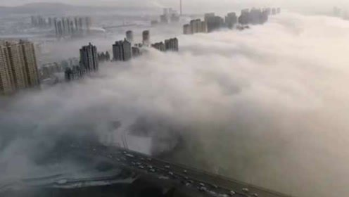 松花江沿岸惊现平流雾景观,云雾缠绕似仙境