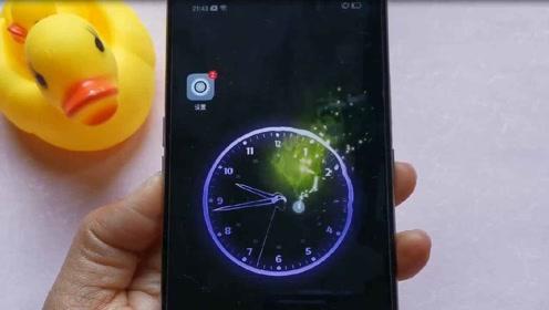 手机上设置个水滴时钟壁纸,滑动就水波涟漪还有星光特效,太炫了