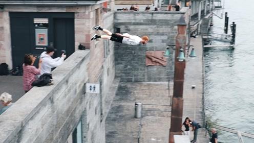身怀绝技的跑酷小伙!不仅身轻如燕,还能飞檐走壁!