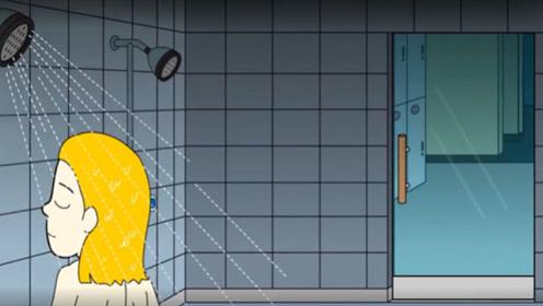 旅馆里有间浴室,女孩正在冲凉,谁知窗户出现一个人