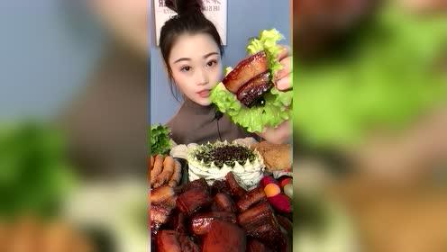 美食吃播:生菜包红烧肉