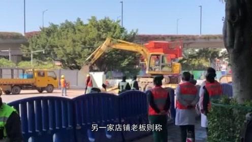 广州11号地铁施工区道路塌陷,目击者:两辆车掉入大坑中