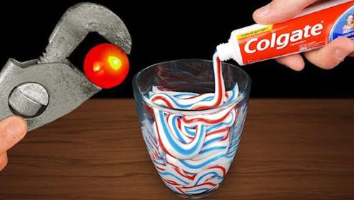 当1000度铁球遇上牙膏,会发生什么?网友:老外的脑洞就是大!
