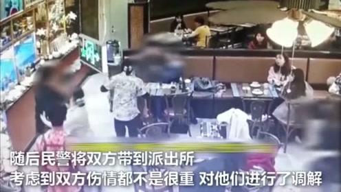 小情侣在餐馆亲密,隔壁带小孩夫妇相劝,被侮辱最后导致大打出手
