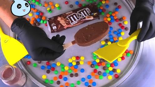 """100粒MM巧克力豆遇上""""脆皮雪糕"""",变成冰淇淋卷,美味了100倍!"""