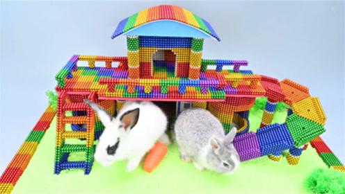 创意巴克球教程,如何用巴克球、太空沙为小兔建造彩虹宠物屋?