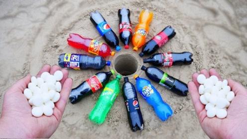 将12种饮料倒入一个地洞中,加入曼妥思后,场面会有多硬核?