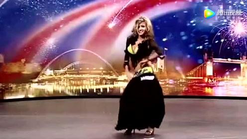英国达人秀,迎来了第一肚皮舞女郎,这面孔太美了!