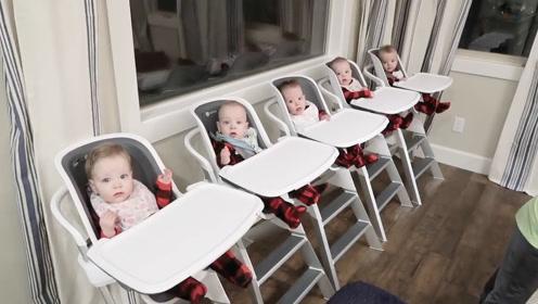 五胞胎排排坐等吃饭,全家人齐上阵喂宝宝,这下妈妈省心了