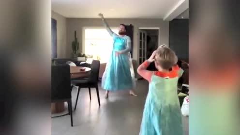 4岁儿子想变公主 老爸陪他一起穿上裙子跳舞