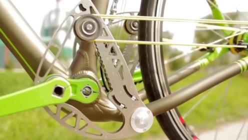 没有链条,只靠一根绳子传动,这自行车怎么做到?