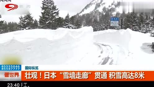 """壮观惊艳!日本,""""雪墙走廊"""",贯通,积雪高达8米!"""